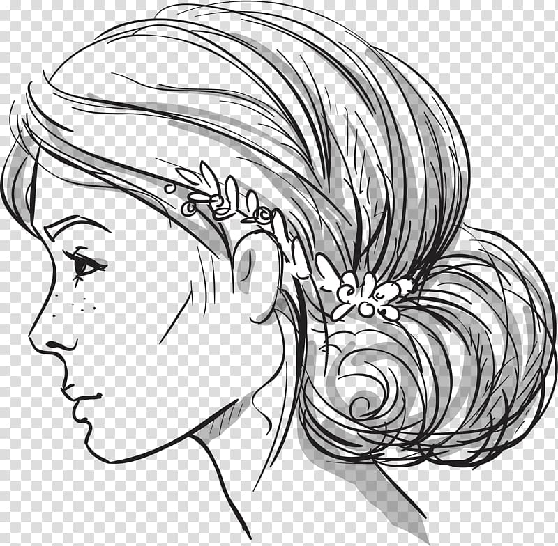 Woman\'s face facing side sketch, Hairstyle Bun Braid Drawing.
