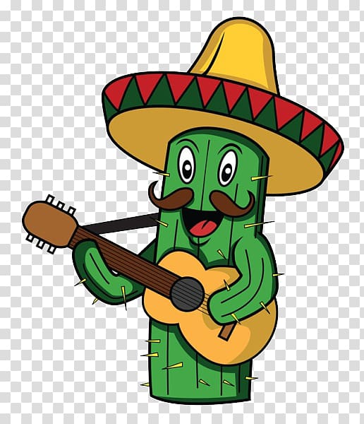 Cactus playing guitar illustration, Mexican cuisine.