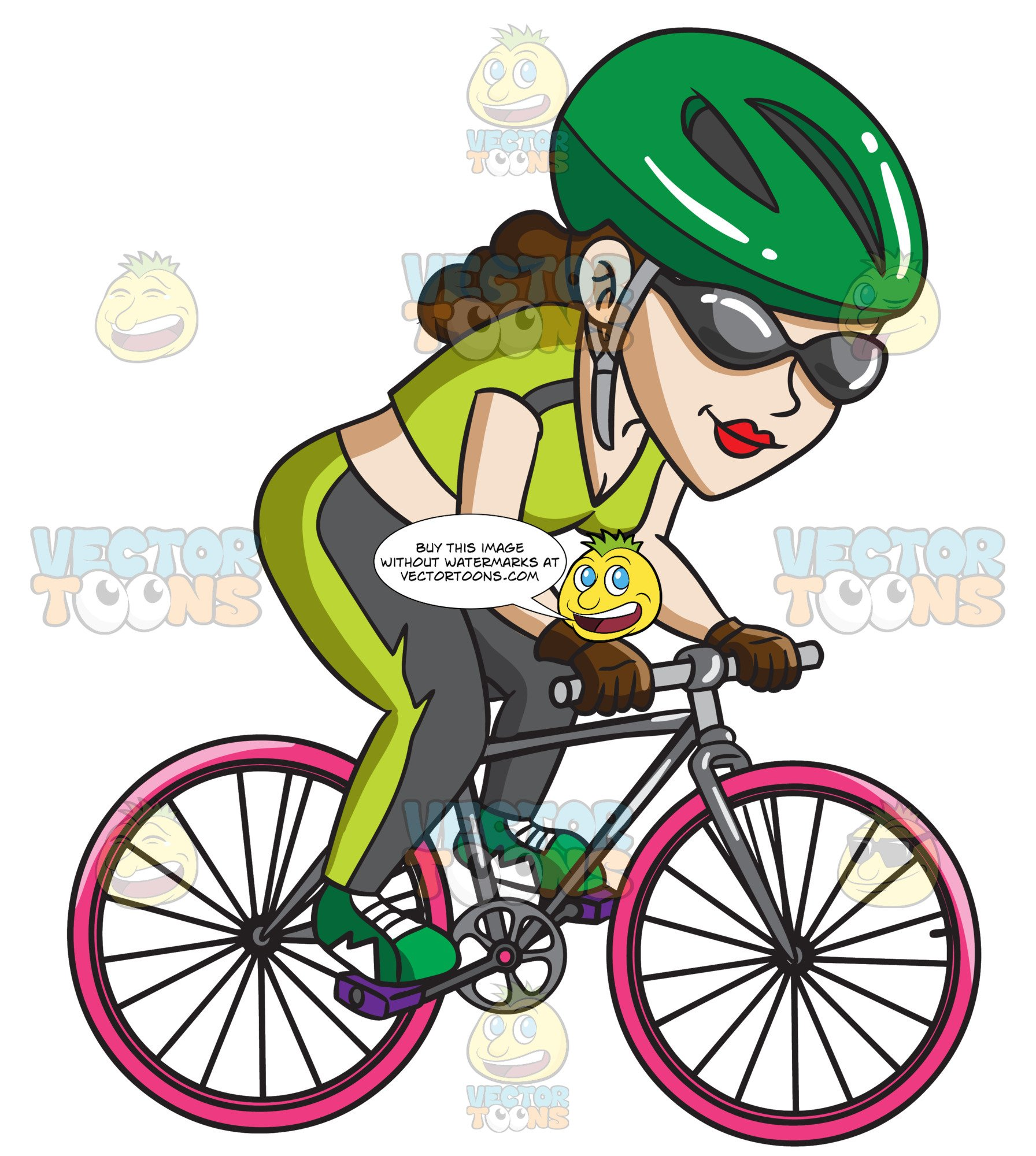 A Woman Riding Her Cool Mountain Bike.