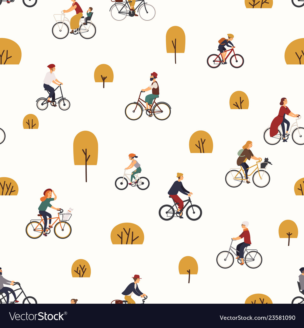 Seamless pattern with people riding bikes in.