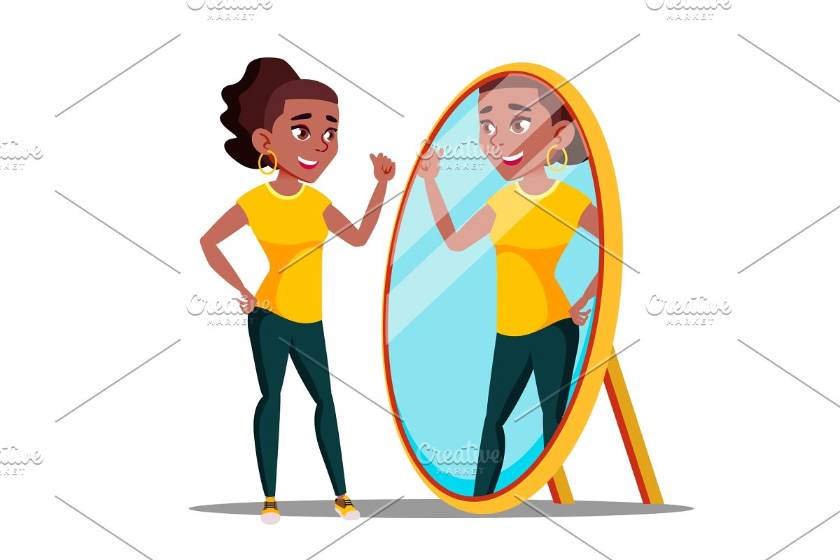 Character Woman Watch Mirror And.