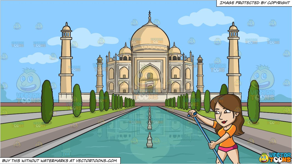 A Woman Paddling On A Surfboard and Taj Mahal Background.