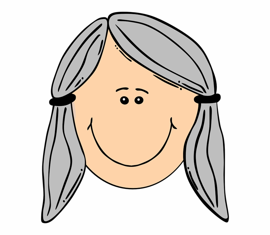 Woman Face Old Hair Gray Smile Braid.