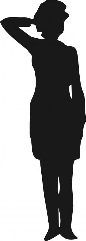 Female Soldier Salute Silhouette.