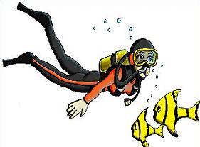 Girl scuba diver clipart.