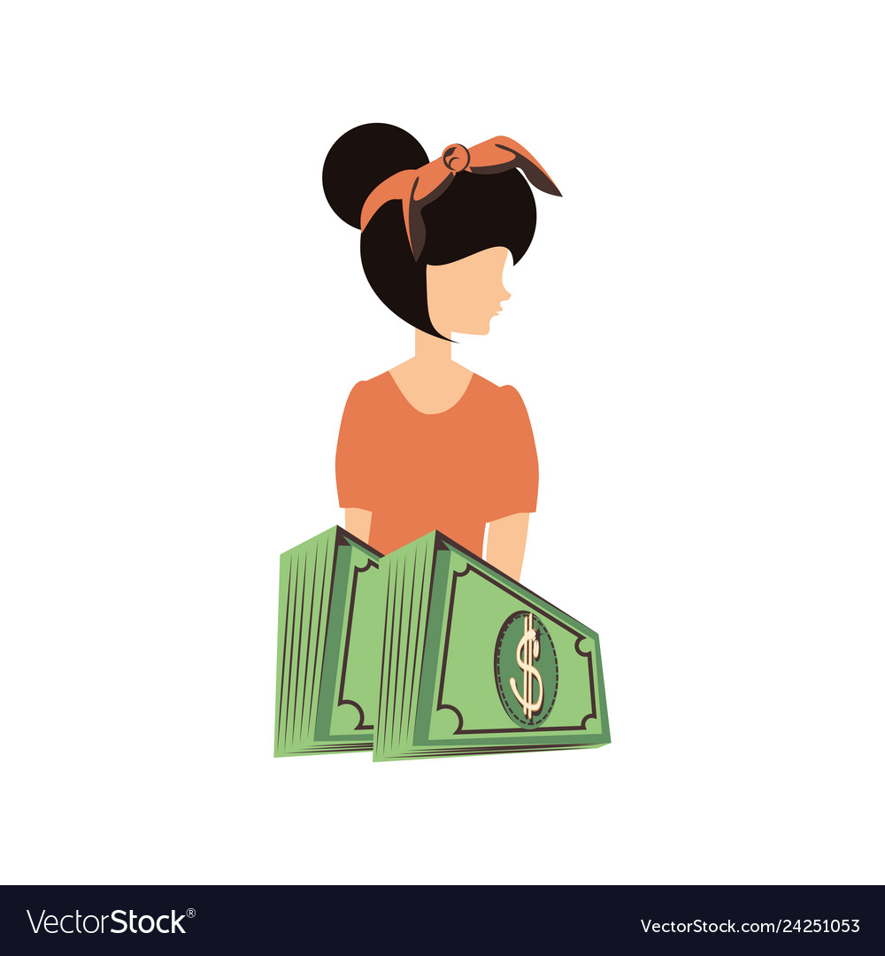 Beautiful woman with bills dollars retro style.