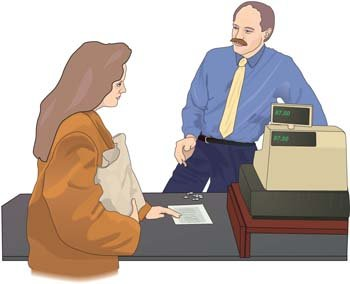 Woman paying bill in supermarket Clipart Picture.