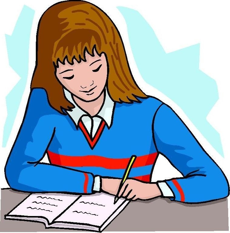 Girl Writing A Letter Clipart.