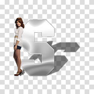 Celebrity Alphabet Psd , standing woman beside letter S.