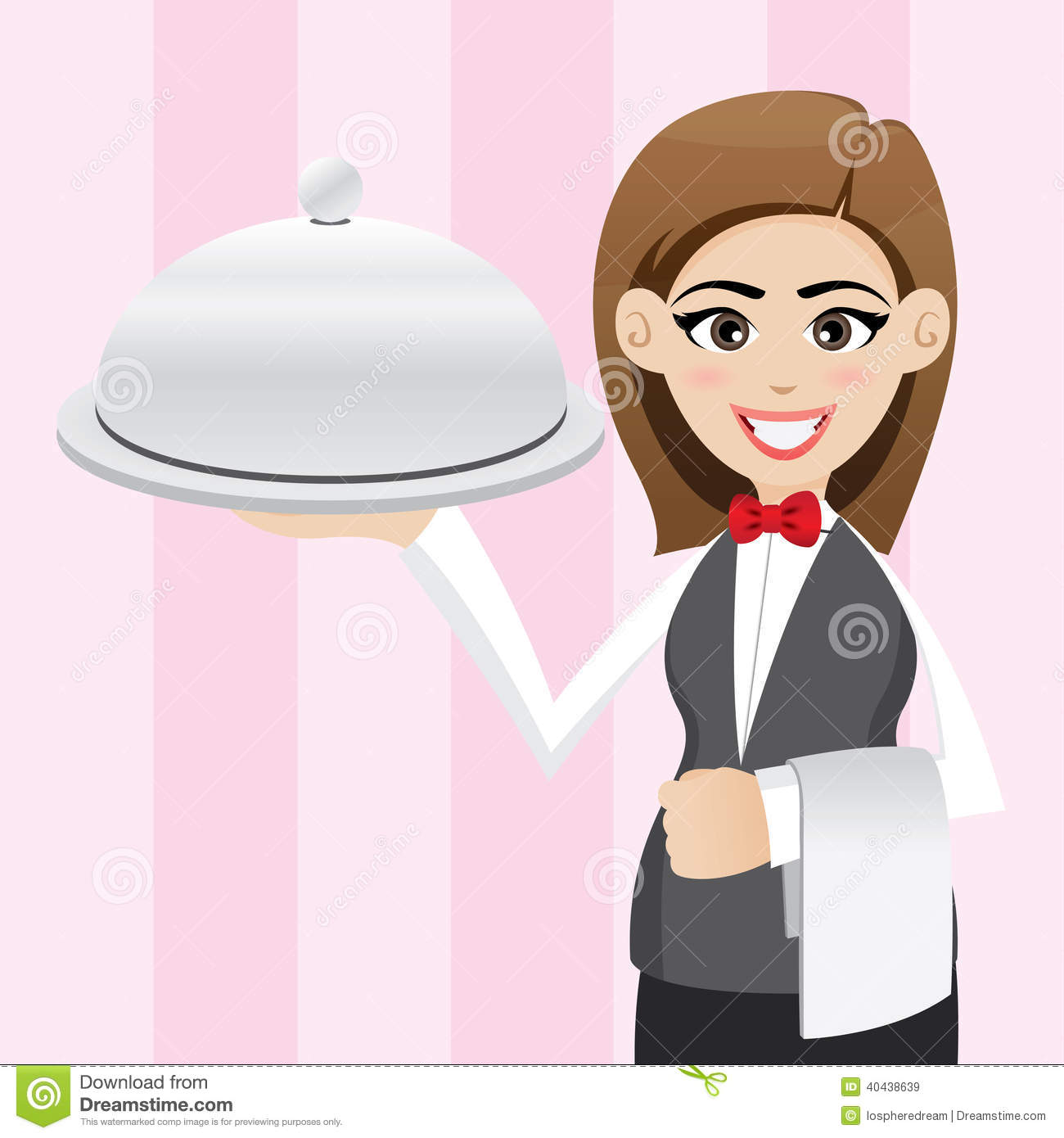 Cartoon Cute Waitress With Food Tray Stock Vector.