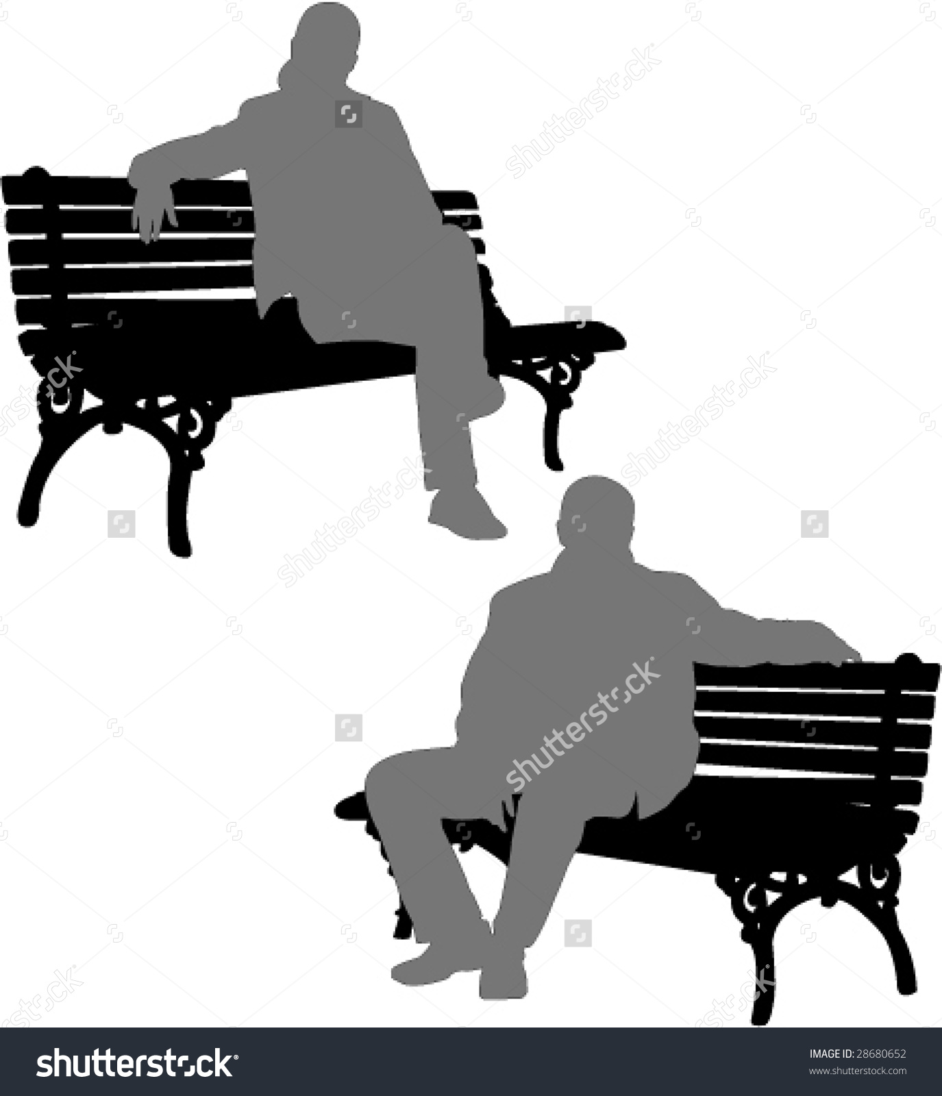 Silhouette Free Clipart Of 2 Men Setting On A Bench.