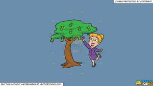 Clipart: A Woman Happily Picks Money From A Tree on a Solid Shadow Blue  6C8Ead Background.