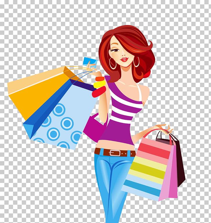 Shopping bag Shopping cart, Girl carrying shopping bags.