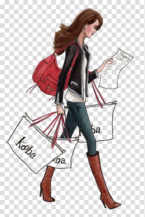 Woman walking with shopping bags illustration, Shopping.