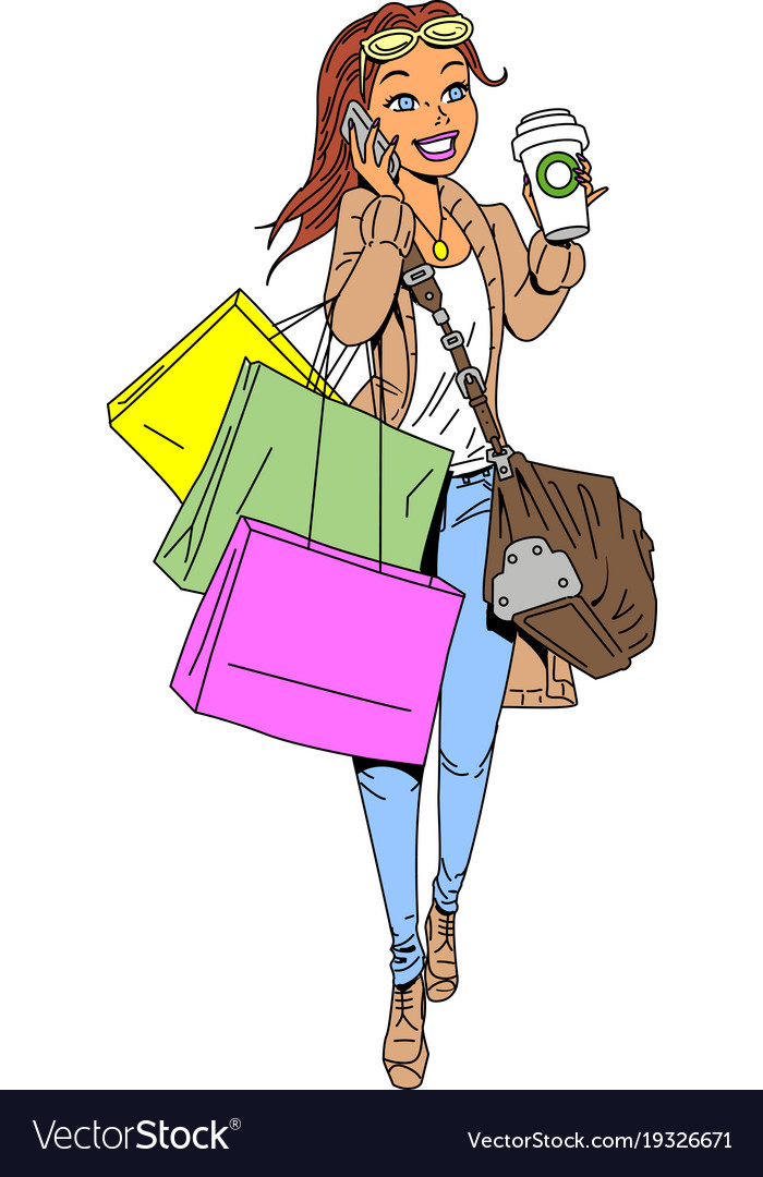 Woman shopping clipart cartoon.