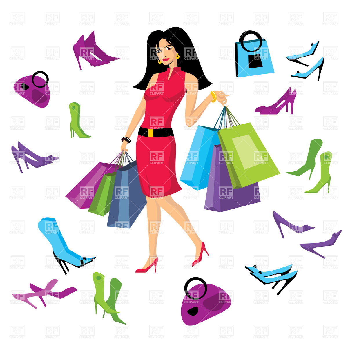 Pretty woman in footware store with shopping bags Stock Vector Image.
