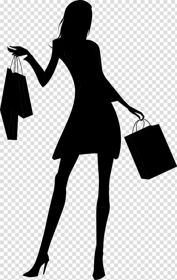 Silhouette Woman Shopping, Fashion shopping girl silhouette.