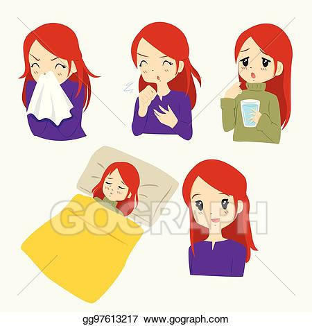 woman sick in bed clipart #3