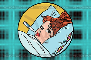 Sick young woman lying in bed with thermometer.