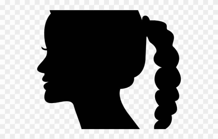 Dark Hair Clipart Side Profile Woman.
