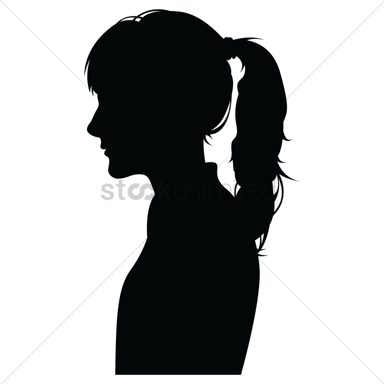 Girl Face Side View Silhouette.