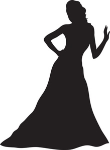 Gown Clipart Image: Woman Silhouette.