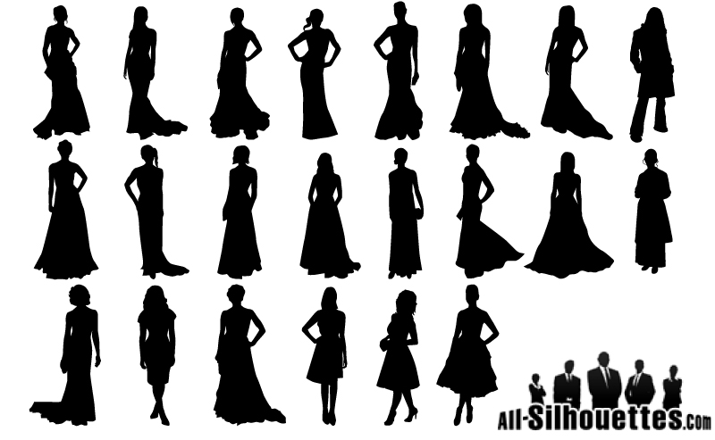Elegant evening dress girl silhouette vector material elegant.
