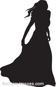 Clip Art of the Silhouette of a Woman Wearing an Evening Gown.