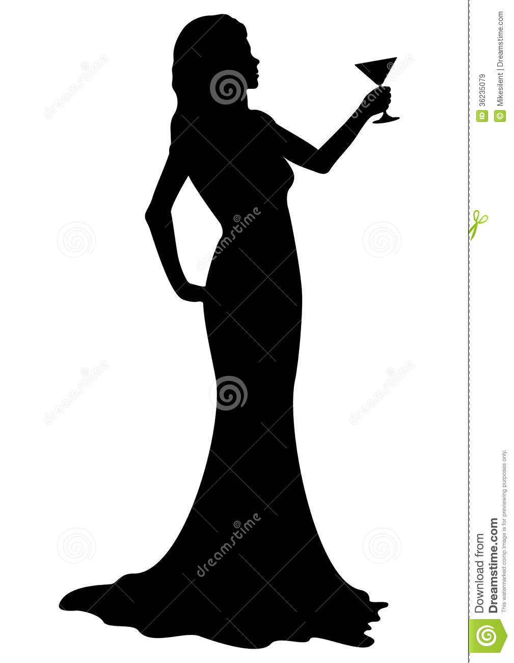 Silhouette girl with cocktail glass.