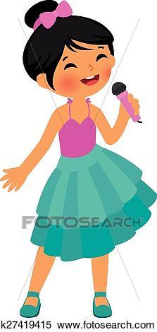 Asian little girl singing Clipart.