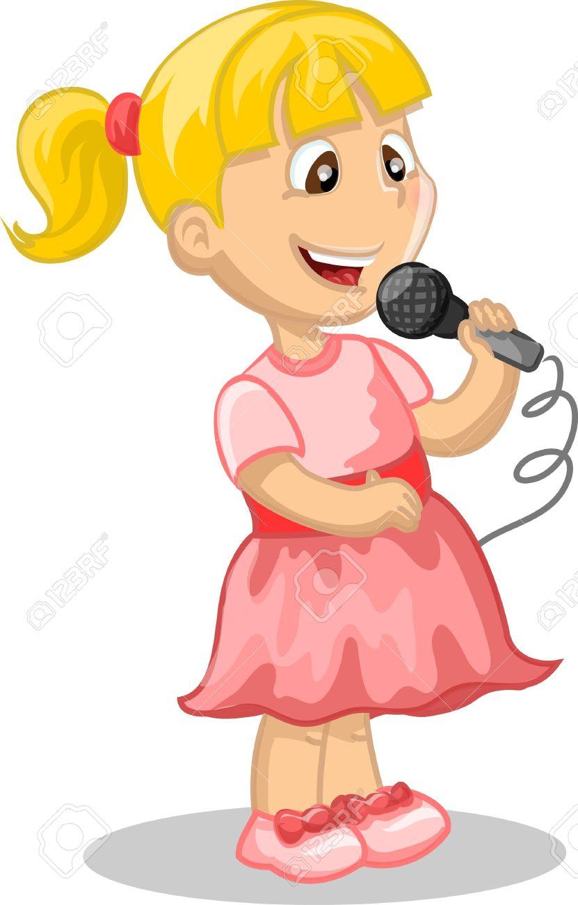 A girl sings.
