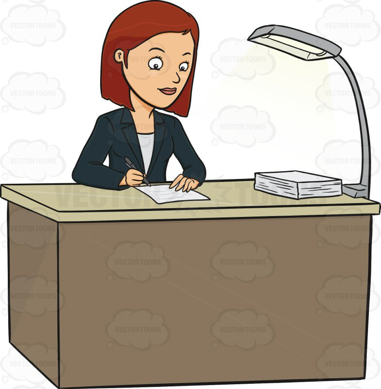 Woman Sitting At Desk Clipart.