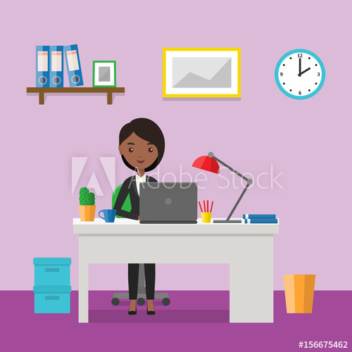 Flat woman sitting at desk. Workspace or home workplace with.