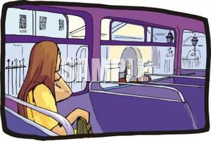 Woman Passenger On A Bus.