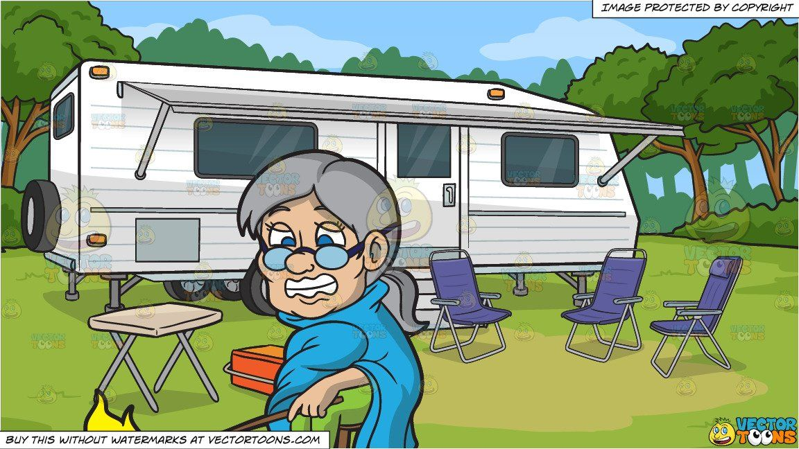 clipart #cartoon A Shivering Old Woman Sitting Beside A.