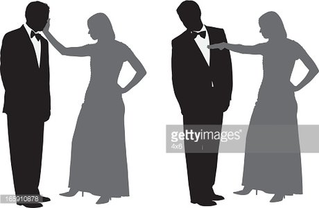 Woman slapping a man Clipart Image.