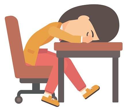Woman sleeping on table Clipart Image.