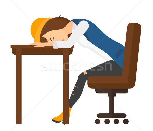 Woman sleeping on table. vector illustration © RAStudio.