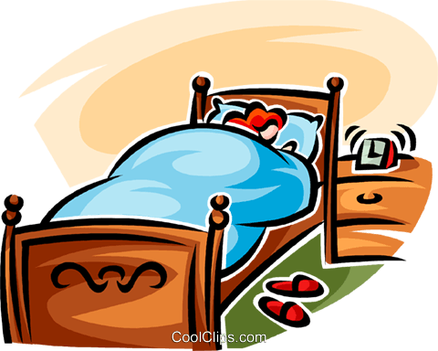 woman sleeping in a bed Royalty Free Vector Clip Art.
