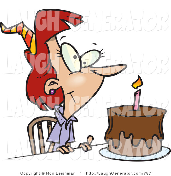 Humorous Clip Art of a Birthday Woman with Candle on a.