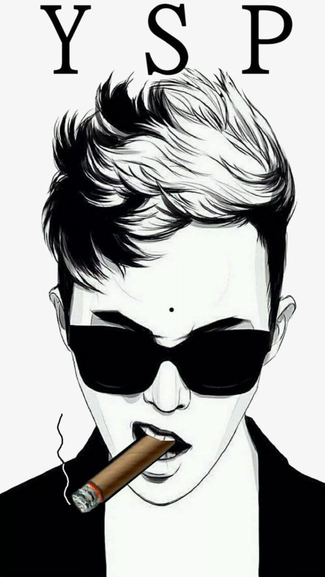 Hand Drawn Fashion Man Smoking A Cigar PNG, Clipart, Adult.