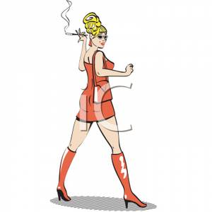 A Woman In a Minidress Smoking a Cigarette.