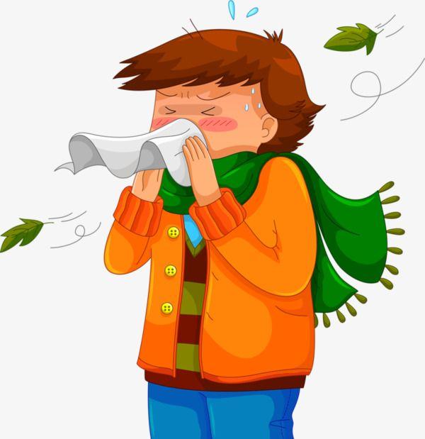 Cartoon Boy Sneezing.