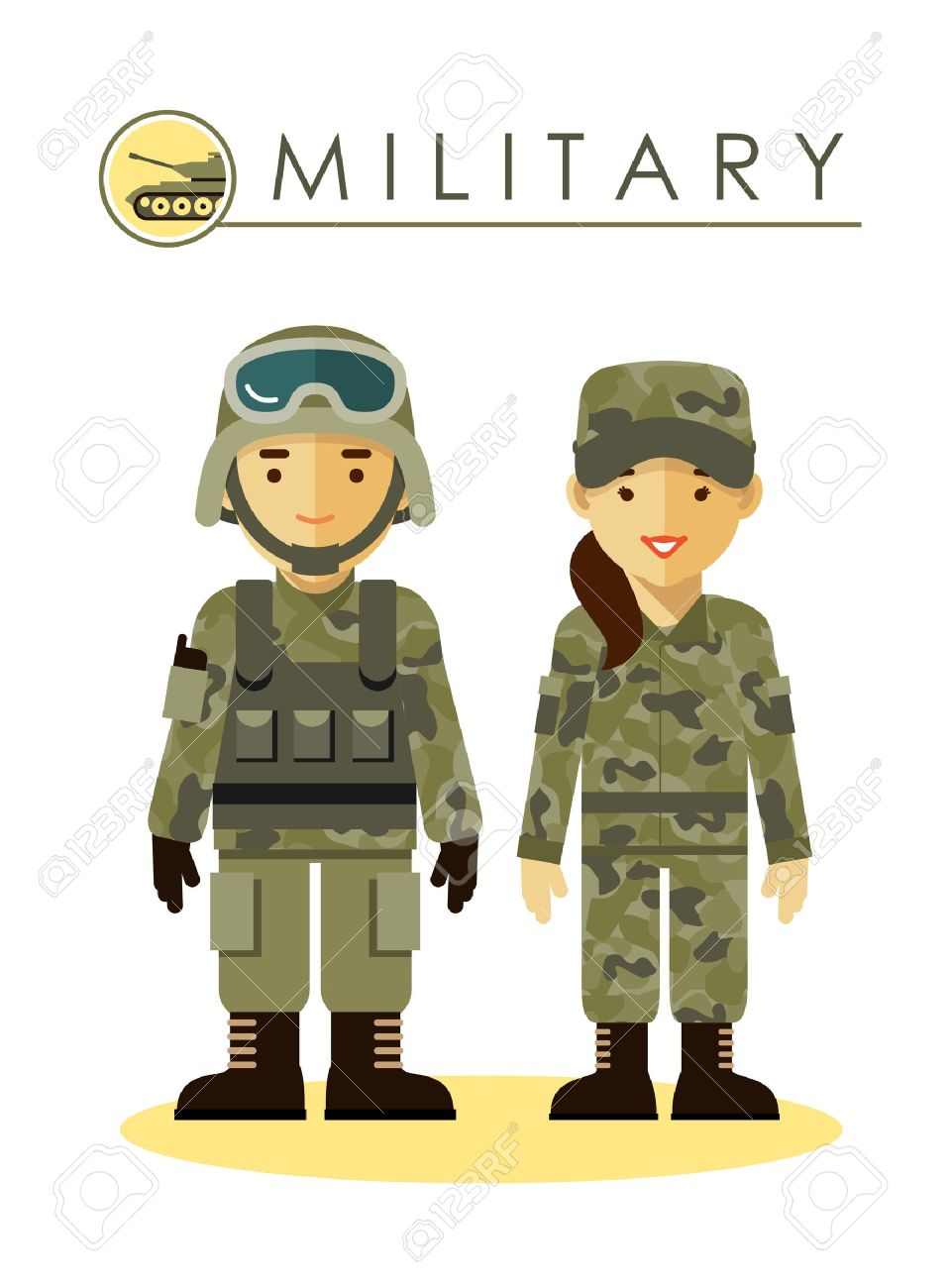 Soldier man and woman in camouflage uniform isolated on white...