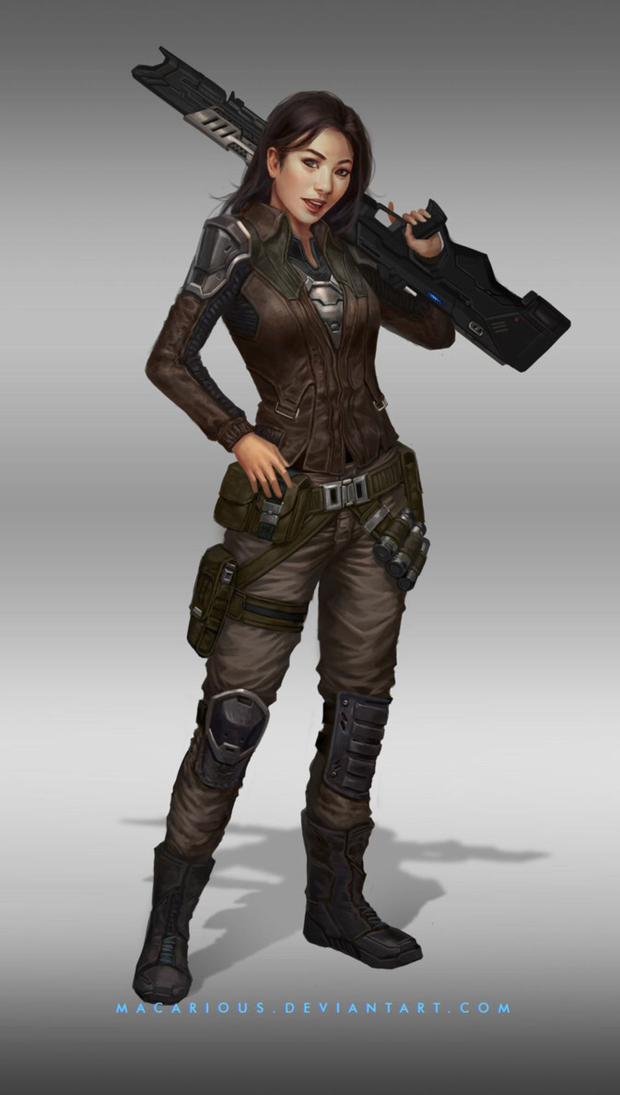rebellion female soldier : character design by macarious on.