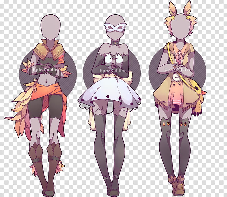 Outfit adoptable CLOSED, three female dresses illustration.