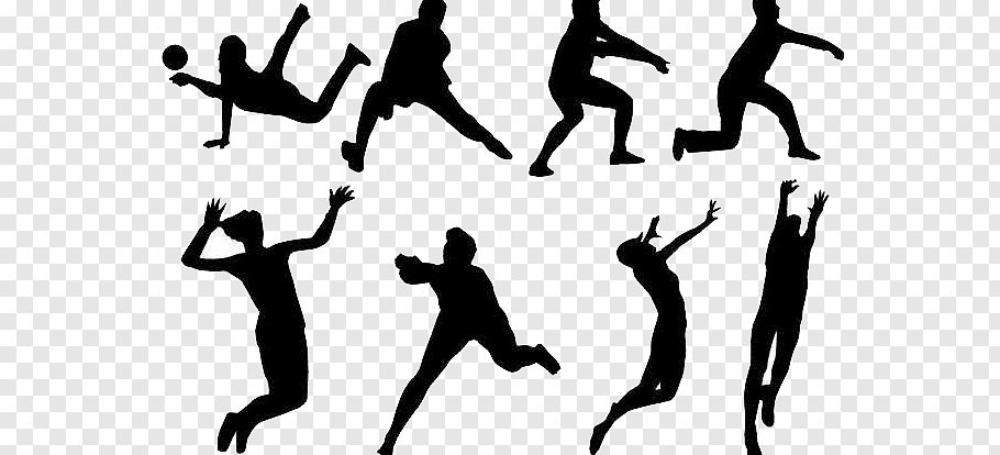 Silhouette person playing volleyball illustration.