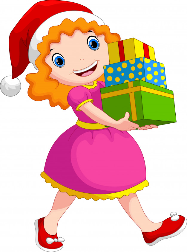 A girl wearing a christmas hat holding a stack of gifts.