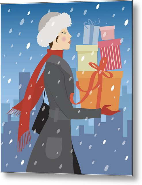 Woman Carrying Stack Of Gifts In Snow, Side View Metal Print.