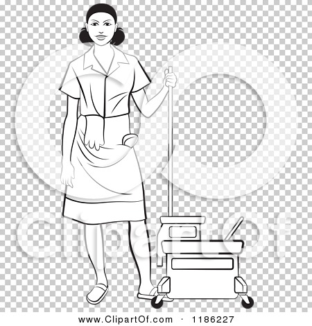 Clipart of a Blackl and White Janitorial Woman Standing by a Mop.